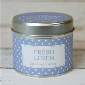 Polka Dot Candle in Tin – Fresh Linen